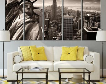 Extra Large Wall Art NEW YORK City Canvas Prints - 5 Panels Gray-Colored Statue of Liberty and Empire State Building, City Skyline Canvas