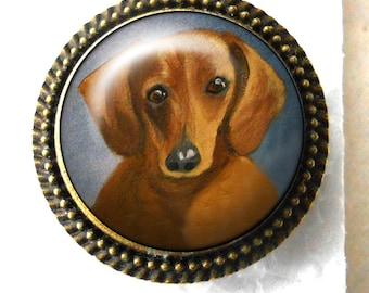 Dachshund Ring ~ Mini Dachshund Portrait ~ Dog Ring ~ Pet Memento ~ April Birthday ~ Doxie Painting