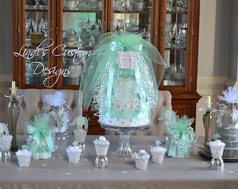 Baby Shower Table Centerpiece Decor, Mint Gray Baby Shower Diaper Cake Centerpieces, Deluxe Baby Shower Decoration Gift Set Mint Gray, Baby