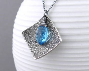 Swiss Blue Necklace Unique Silver Necklace Boho Necklace Geometric Jewelry Handmade Silver Jewelry Holiday Gift for Women - Contrast