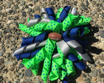 Hair Bow Clip - Seattle Seahawks Blue Green Silver Ribbon Korker / Corker Hair Clip with Football Bead