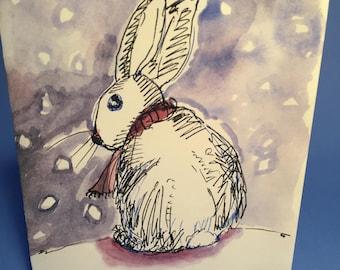 Bunny Winter Wonderland Holiday Card, By Michelle Kogan, Christmas, Hanukkah, Watercolor, Art & Collectibles, Children's Art, Illustration