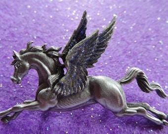JJ Jonette Majestic Silver Pegasus Flying Horse Brooch Pin
