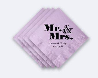 Custom Mr. & Mrs. Wedding Napkins -  Foil Stamped Napkins