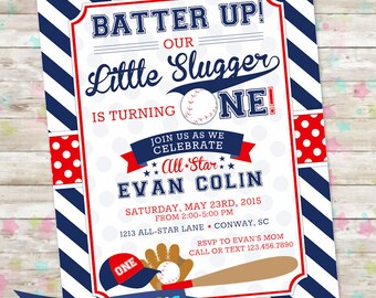 Baseball Birthday Invite, Baseball Invitation, All Star Party, Little Slugger, One, Printable Invite, DIY, Sports Theme Party, Red and Blue