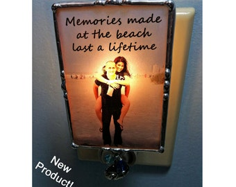 Photo Nightlight, Soldered Glass, Memorial Picture, Stained Glass Style, Charms, Mother's day gift, Personalized Memory, Stained Glass Style