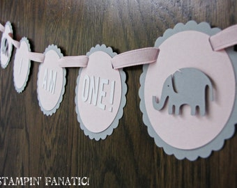 Sweet Little Peanut Collection: High Chair Banner. I am ONE banner. Elephant first birthday banner. Pink & Grey.