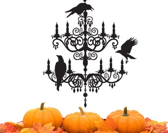 Spooky chandelier etsy spooky chandelier decal vinyl wall sticker halloween decorations ravens crows wb711 mozeypictures Choice Image