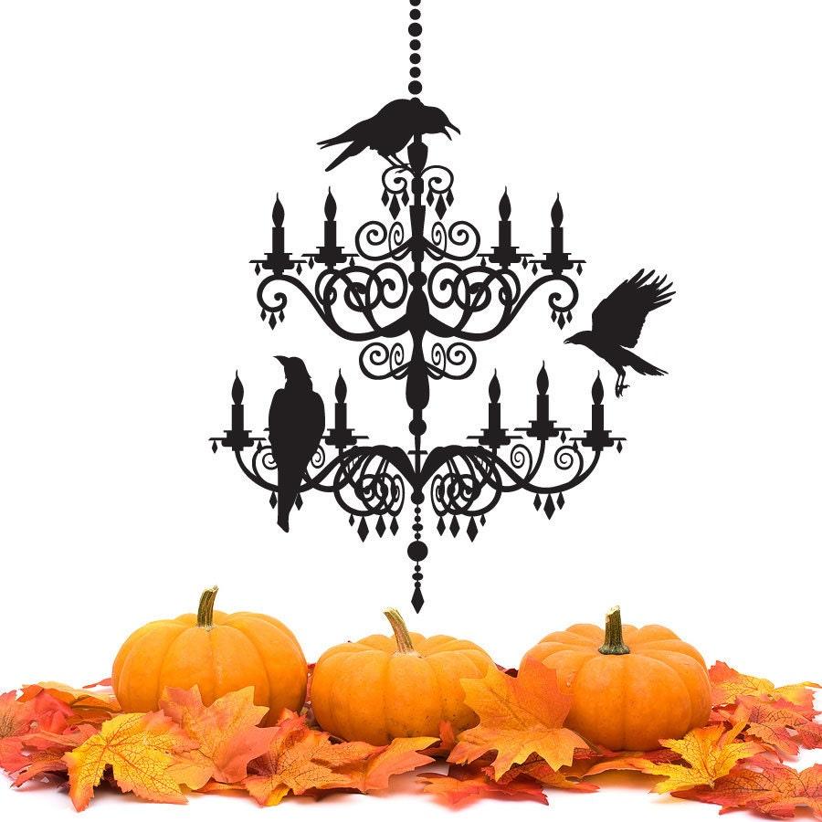 Spooky chandelier decal vinyl wall sticker halloween zoom mozeypictures Images