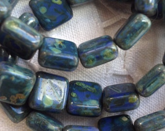 Czech Artisan 8mm Flat Square Picasso Beads - Opaque Blue with Green Picasso - 15 Beads
