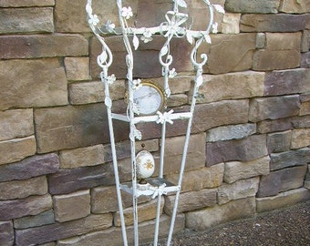 Fabulous Vintage Shabby Chippy Floral Metal 3 Tier Tall White Metal Shelf/ Metal Flowers Birdcage Shape Shelf/Wall shelf/Garden Decor/40""