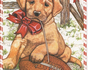 Puppy and Football Christmas Card, Used, good shape, c1990