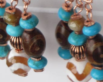 NEW Copper 3-Tiered Chandelier Earrings, Turquoise, Southwestern, Boho, Agate, Three Eyed, Prayer Beads