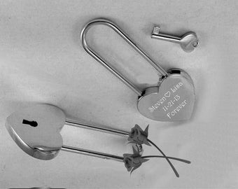 Love Lock, Heart Lock, Custom Lock, Personalized Silver Heart Love Padlock With Key, Engraved Love Lock, Silver Padlock, Free Engraving