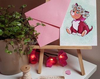 Postcard - Dinah, Alice in Wonderland