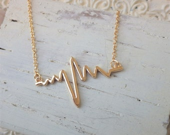 Gold Heartbeat Necklace ~  EKG ~ Nurse Jewelry ~ EMT ~ Paramedic ~ Medical Professional ~ Romantic ~ by WakesTheDawn