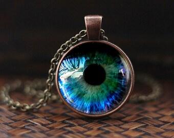 Eye Necklace, Eye Jewelry Glass Pendant, Realistic Human Eyeball, Eye Steampunk Gothic Eye Charm, Anatomy jewelry