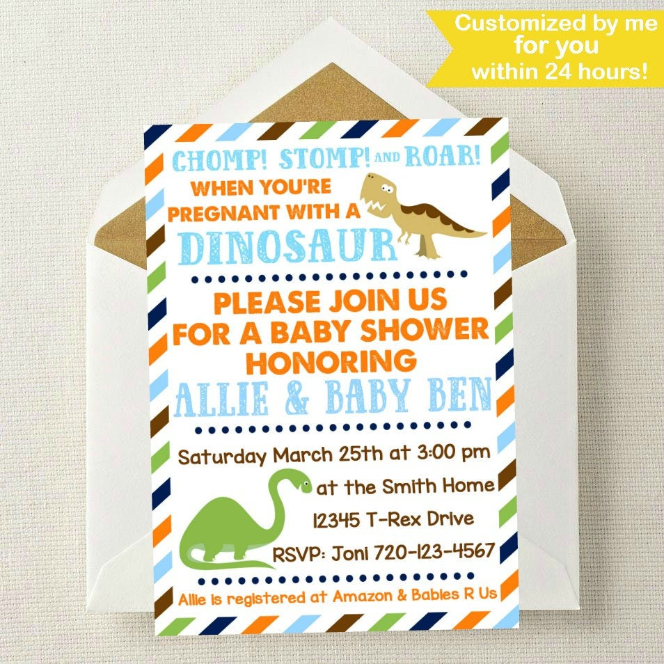 Dinosaur Baby Shower Invitation // Dinosaur Baby Shower //