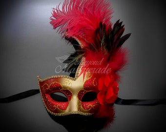Masquerade Mask, Feather Masquerade Mask, Feather Masks, Mardi Gras Mask, Mardi Gras Masks, Masquerade Ball, Feather Mask [Red | Gold]