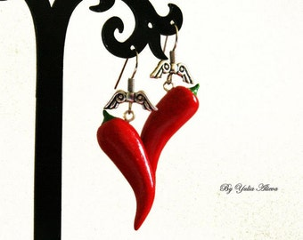 Earrings with Chili pepper, Peppers jewelry, Red peppers, Food earrings, Red hot jewelry