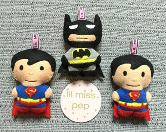 handsewn felt batman and superman toy ratle