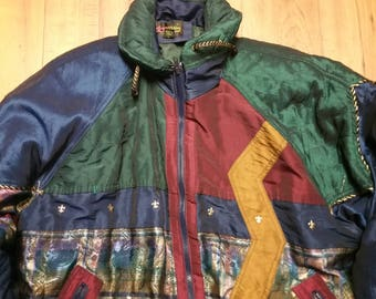 Retro Women's Shimmer-Colorful-Funky Printed Jacket Size L