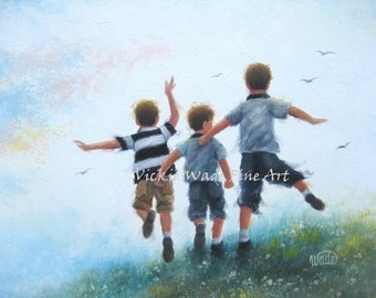 Three Brothers Leaping Art Print boys room wall art three boys paintings, three brothers jumping, outdoors, happy kids, Vickie Wade art