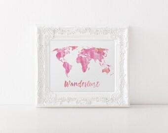 Watercolor World Map pink nursery wall art nursery Print