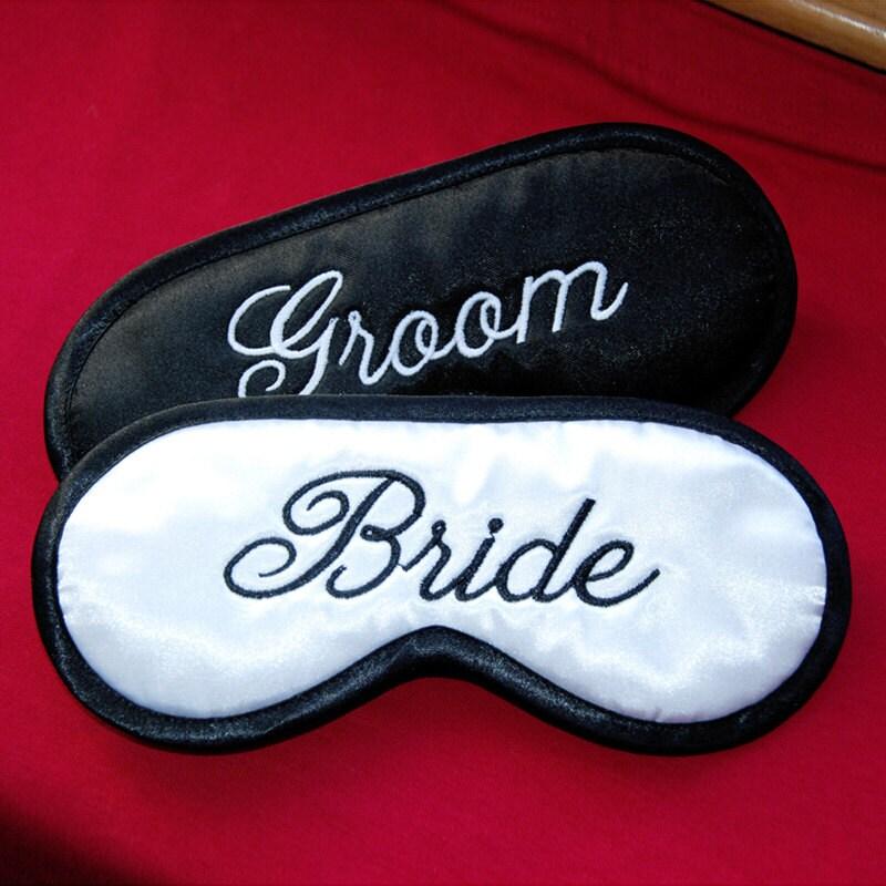 Bride Groom Sleep Masks Set Of 2 Wife And Husband Wedding