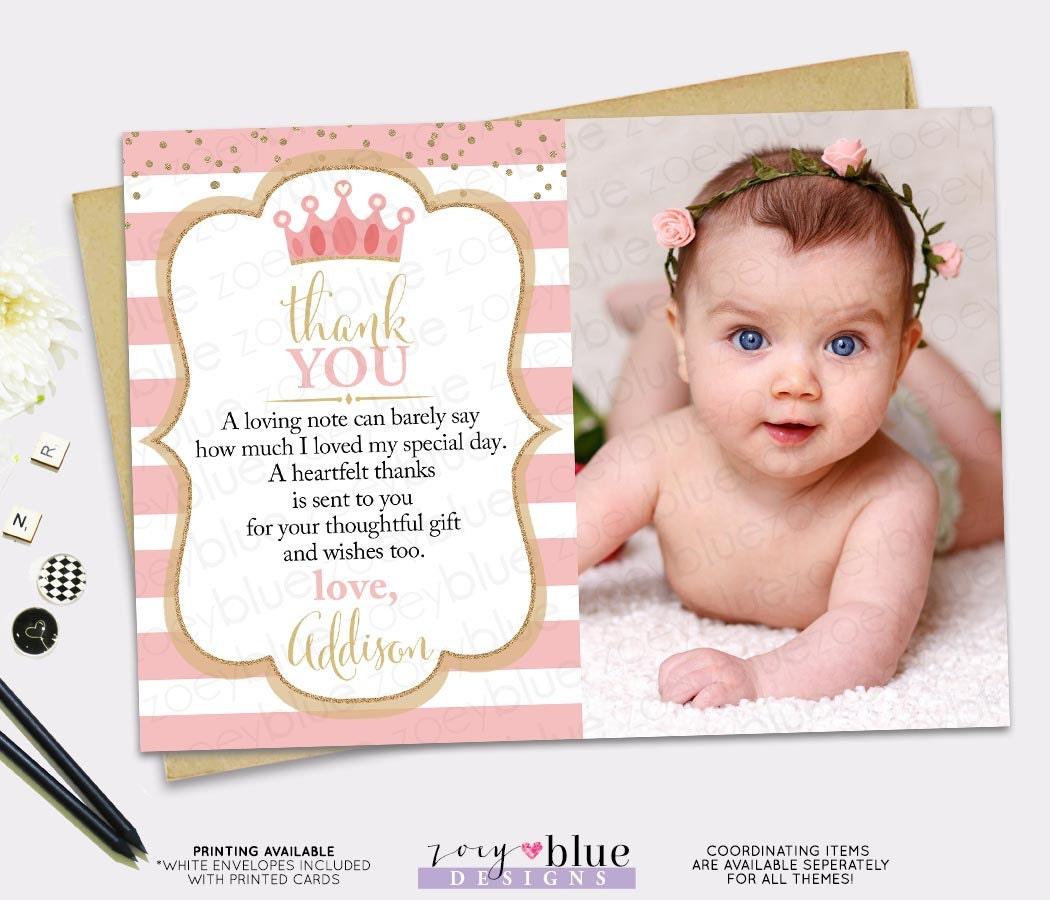 Princess Thank You Card Pink Gold Princess Birthday Thank