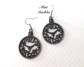 Vintage Style Antique Silver Clock Earrings. Round Dangle Earrings. Statement Earrings. Gunmetal. Under 10 Gifts. Large Numbers. Whimsical.