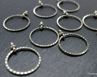 set of 10 20 mm silver circles