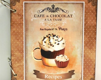 NEW French Paris Cafe Cupcake and Coffee Blank Recipe Book Personalized Free