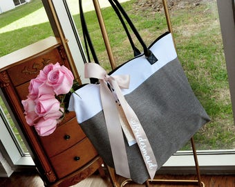 Pre-Order ONLY - Available April/May: Heathered Gray Maid of Honor Bag (Qty.1).  Maid of Honor Bag with Zipper. Maid of Honor Gift Bag.
