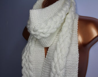Whimsical Braided Cable Knit White Scarf with Holographic Sprinkles and Tassels!