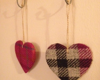 Harris Tweed hanging hearts
