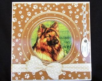 German Shepherd Card, Pet Dog Card, 3 D Decoupage Card, Alsatian 3 D Card, Handmade in UK, Father's Day Card, Dog Birthday Card, Personalise