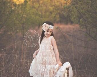 Rustic flower girl dress, flower girl dresses, Flower girl dress, champagne lace dress, baby dress, girl dress, flower girl, girl dresses