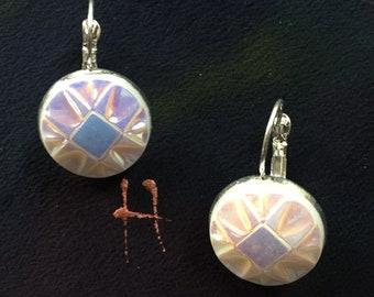Vintage Czech Art Deco glass button earrings