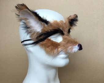 Hand Feathered Fox Mask