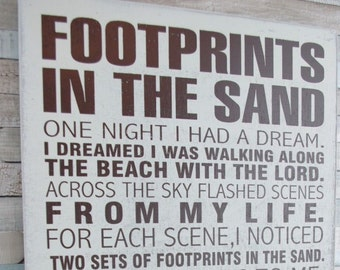 Oversized Plaque Footprints In The Sand Wall Sign Ex Large Height 78cm Home Gift F1004