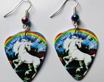 Unicorn and rainbow guitar picks earrings