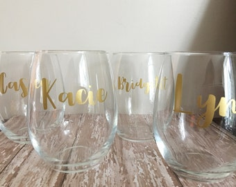 Bridemaids Stemless Wine Glasses // Custom Wine Glass // Girls Weekend //
