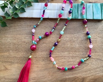Boho Necklace Tassel Necklace Gemstone Necklace Fringe Necklace Long Beaded Necklace Hippie Necklace Colorful Necklace Boho Jewelry