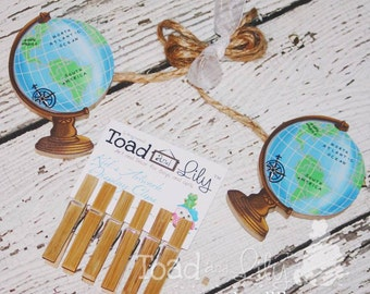 Globe Wooden Boys Wall Art Display Clips for Kids Bedroom Baby Nursery Playroom AC0070