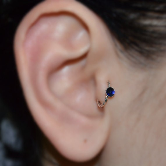 Tragus Earring - Silver Nose Piercing - Helix Ring - Sapphire Tragus Hoop - Daith Piercing - Cartilage Ring - Rook Jewelry - Nose Ring 16g
