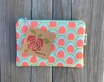 Coral Small Cosmetic Bag, Small Pouch, Makeup Bag, Small Pouch Purse, Small Cosmetic Pouch, Zipper Pouch, Makeup Pouch