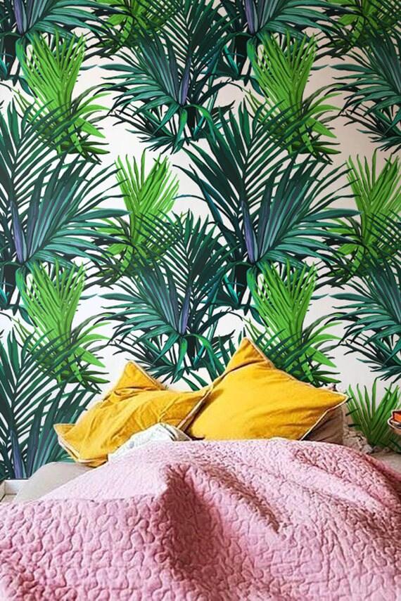 feuilles de palmier tropical papier peint d coration murale. Black Bedroom Furniture Sets. Home Design Ideas