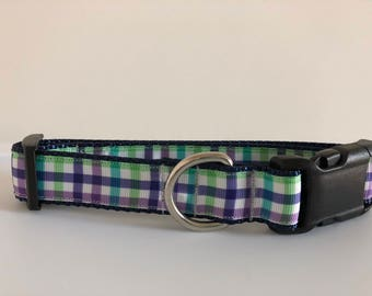 Purple and Green Plaid 1 inch Collar