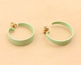 Mint Green Hoops, Mint Green Hoop Earrings, Mint Green, Hoop Earrings
